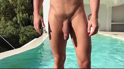 gay sex  naked man  pool
